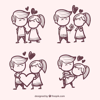 Main quelques dessiné dans l'amour pack