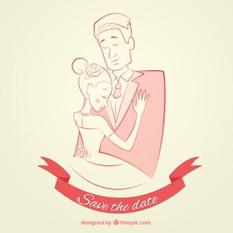 Main quelques dessinée pour invitation de mariage