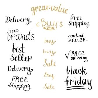 Main qui écrit la collection d'étiquettes de vente. shopping discount ensemble. vecteur