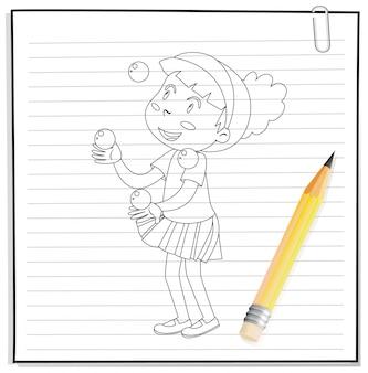 Main qui écrit une fille jouant avec beaucoup de contours de balles