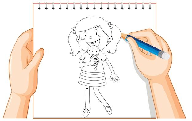 Main qui écrit une fille mangeant un contour de crème glacée