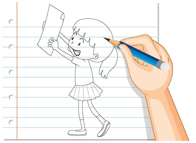 Main qui écrit une fille tenant un contour de papier