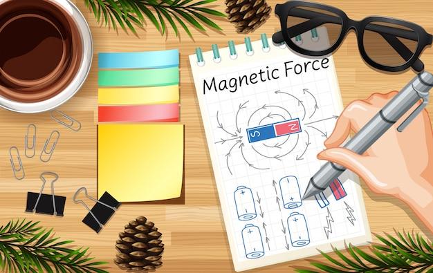 Main qui écrit la force magnétique se bouchent sur fond de bureau avec une tasse de café et quelques accessoires de feuilles