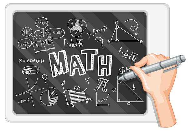 Main qui écrit la formule mathématique sur le tableau noir