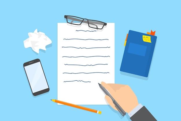 Main qui écrit un message texte sur la feuille de papier. travailler comme rédacteur ou journaliste. esprit créatif et brainstorming. illustration