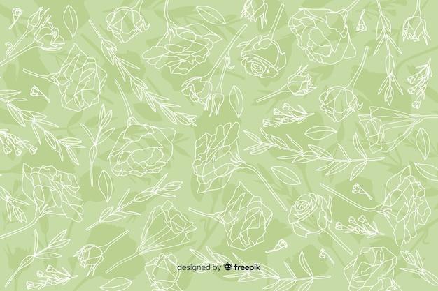 Main réaliste dessiné des fleurs et des feuilles sur fond pastel