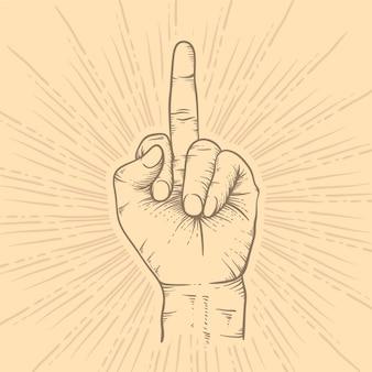 Main réaliste dessiné à la main symbole de vous baiser