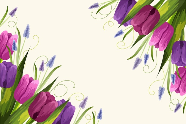 Main réaliste peint fond floral avec des tulipes