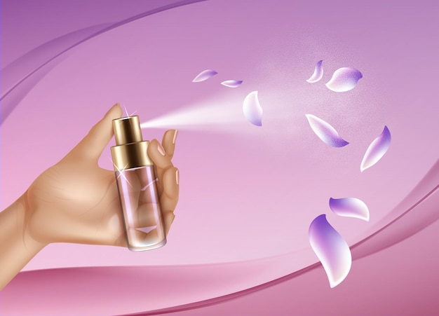 Main réaliste avec spray de parfum sur fond rose