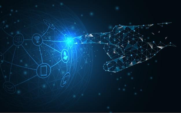 Main de réseau mondial touche le futur concept de vecteur