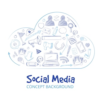 La main des réseaux sociaux dessinés réseau doodle croquis fond de concept de vecteur