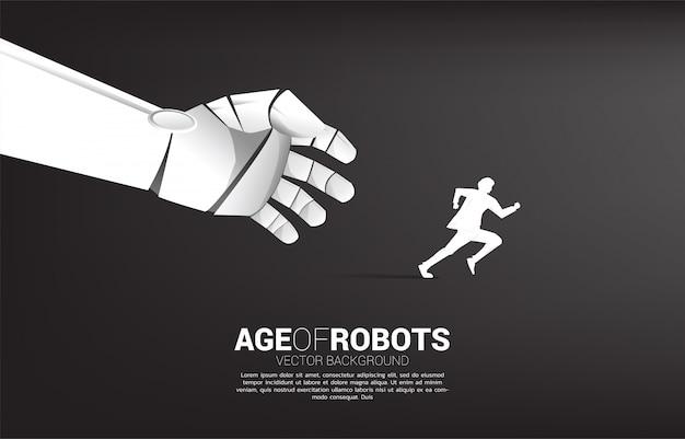 Main de robot essayer d'attraper un homme qui court