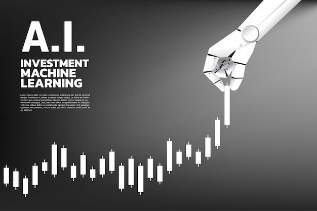 La main de robot tire le graphique de l'entreprise plus haut.