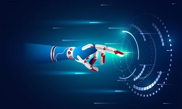 La main robotique touche un écran virtuel.