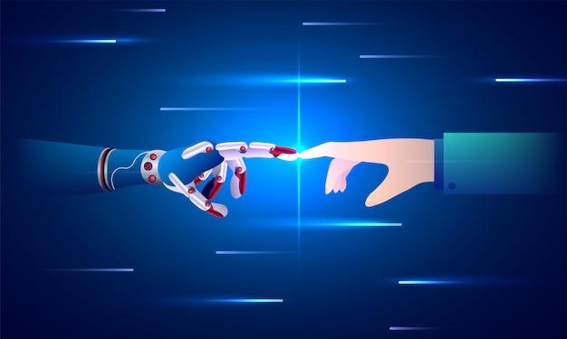 Main robotisée et main humaine connectée.