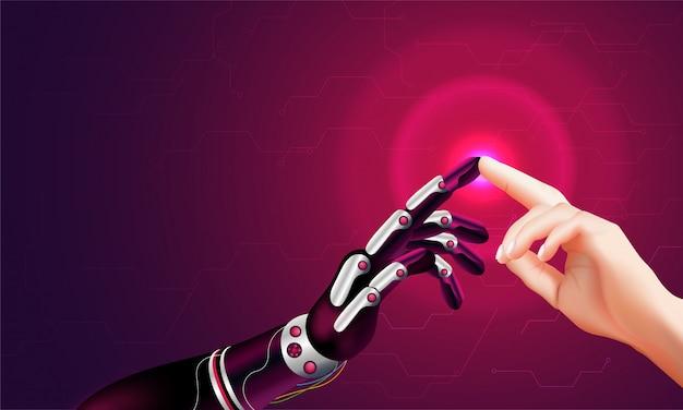 Main robotisée et main humaine se connectant.