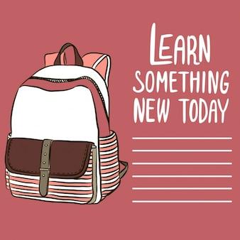 Main sac à dos dessiné pour la rentrée scolaire
