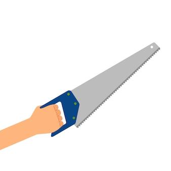 Main avec scie isolé sur blanc