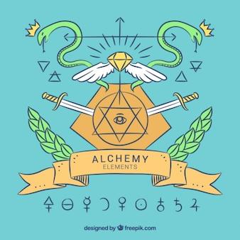Main la science dessinée collection de symboles