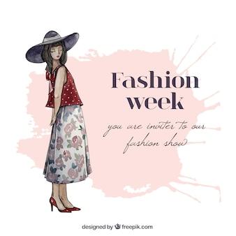 Main semaine invitation de la mode peint