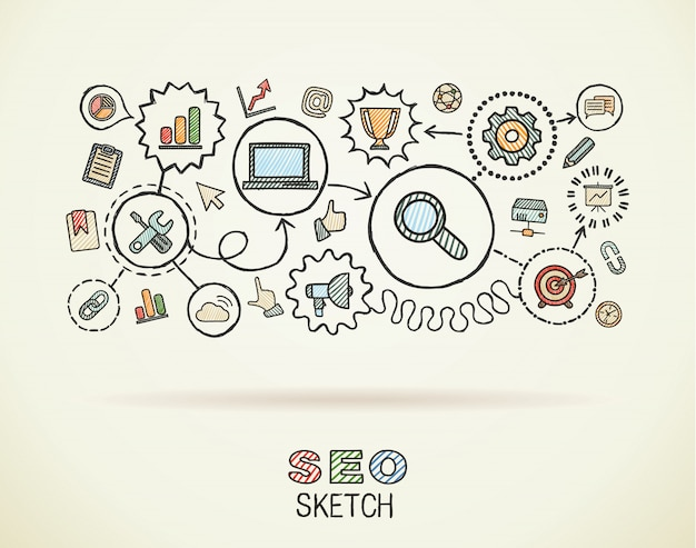 Main de seo dessiner des icônes intégrées sur papier. illustration infographique de croquis coloré. pictogrammes de doodle connectés, marketing, réseau, analytique, technologie, optimisation, concept interactif