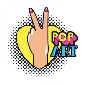 Main avec signe de la paix et amour pop art