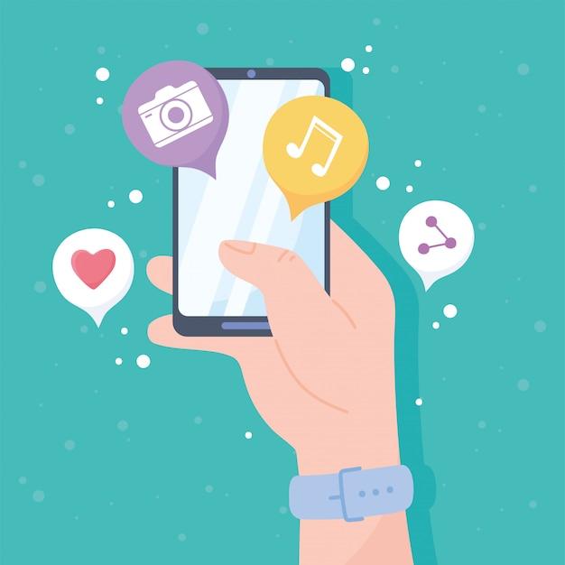 Main avec smartphone et applications système de communication de réseau social et illustration de technologies