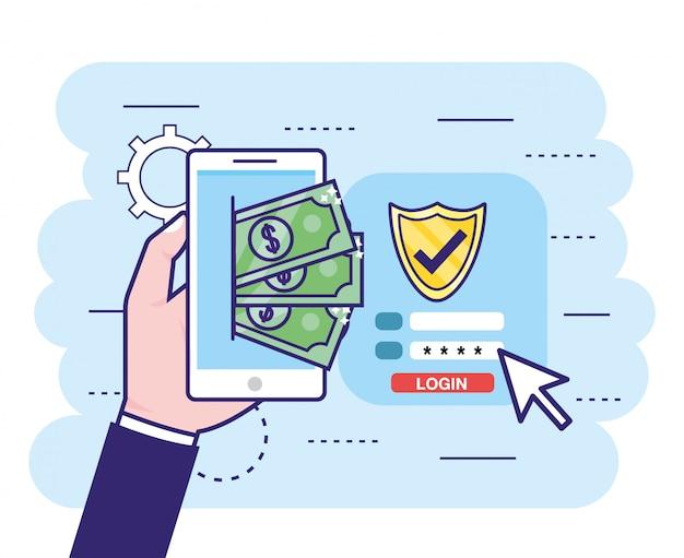 Main avec smartphone et factures avec mot de passe de sécurité