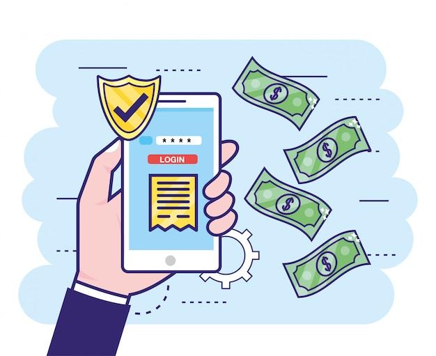 Main avec smartphone et mot de passe bancaire sécurisé