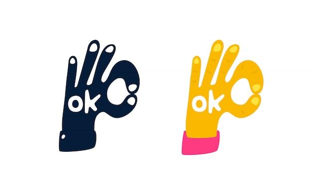 ¡la main sous la forme d'un symbole ok.