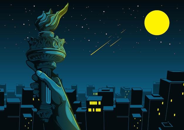 Main de la statue de la liberté, jour de l'indépendance, ville de nuit, illustration comique des bâtiments.