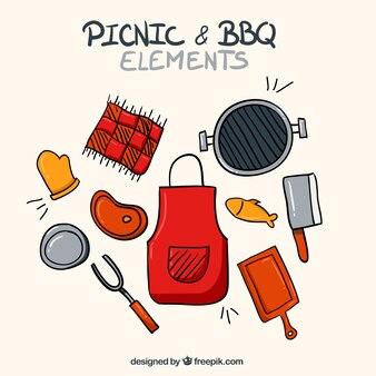 Main tablier dessinée avec des éléments de barbecue