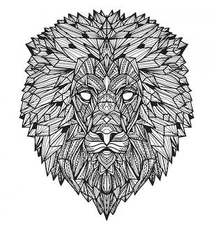 Main de tatouage art lion dessin et croquis en noir et blanc avec illustration art ligne isolée
