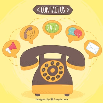 Main téléphone dessiné fond et des icônes