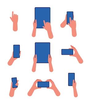 Main avec téléphone. tablette à écran tactile et smartphone dans les gestes de pointage de la main à l'aide de l'application appareil moderne plat