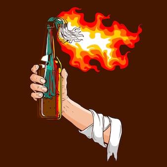 Main tenant une bouteille de molotov en feu dans l'illustration