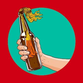 Main tenant une bouteille molotov en illustration