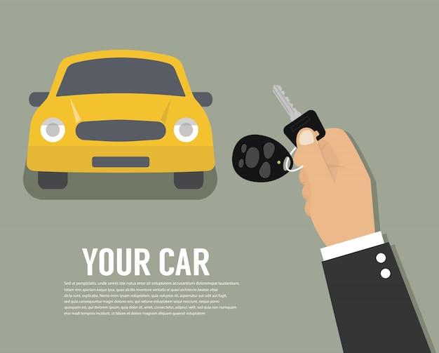 Main tenant la clé de voiture ou la clé d'accueil