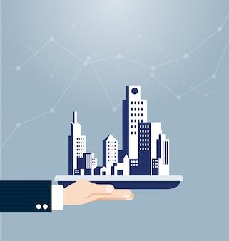 Main tenant le concept immobilier de construction
