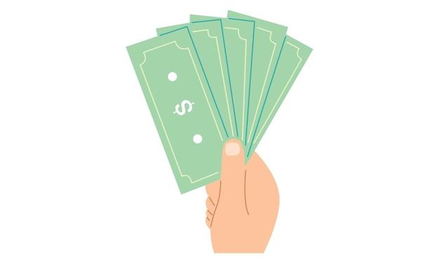 Main tenant le concept de paiement de billets d'argent