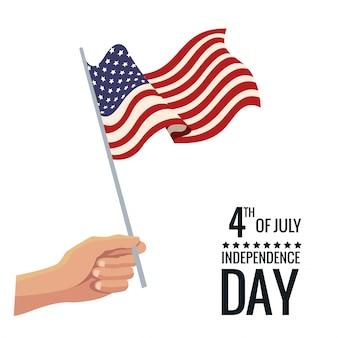 Main tenant le drapeau des états-unis fête de l'indépendance