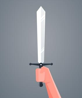 Main tenant l'épée. .