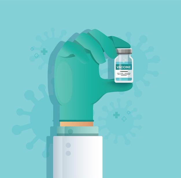 Main tenant le flacon de vaccin. concept de vaccination
