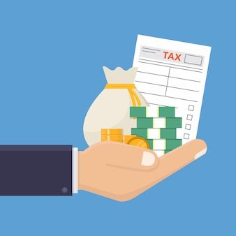 Main tenant le formulaire d'impôt et illustration vectorielle d'argent design plat