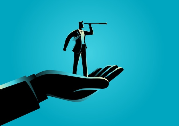 Main tenant un homme d'affaires en utilisant le télescope