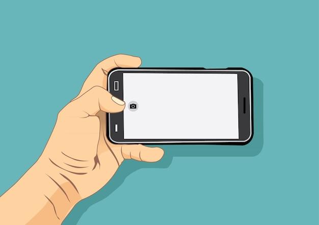 Main tenant l'illustration vectorielle de téléphone intelligent