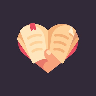 Main tenant un livre en forme de coeur