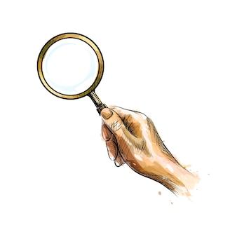 Main tenant la loupe d'une éclaboussure d'aquarelle, croquis dessiné à la main. illustration de peintures