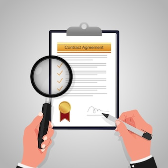Main tenant la loupe pour examiner et signer le concept de formulaire de document d'accord de contrat. offres d'affaires