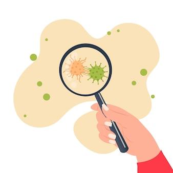 Main tenant une loupe pour voir la mutation du virus corona. mise à jour de la recherche sur covid-19. design plat.